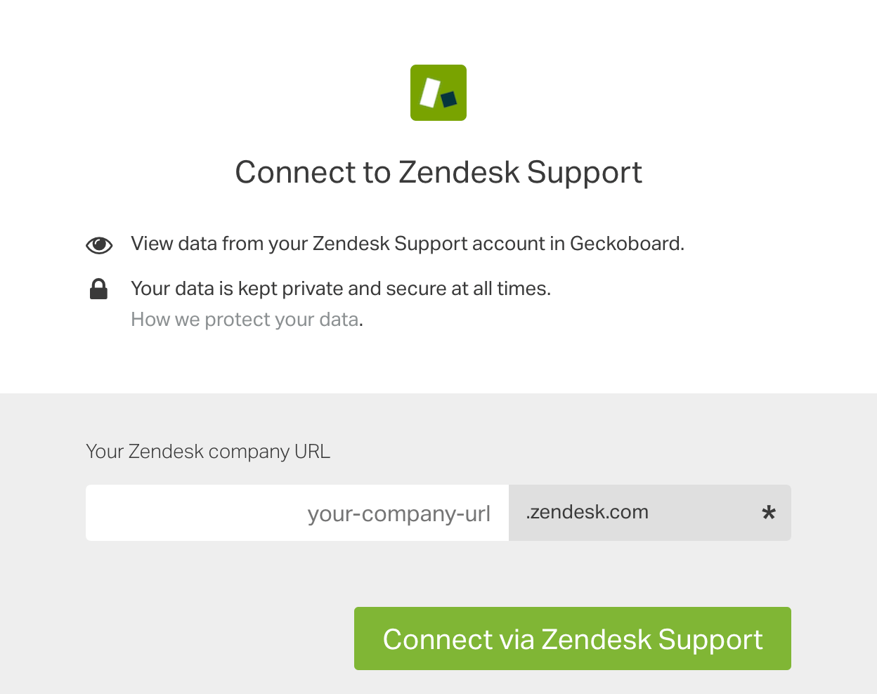 Zendesk Support authentication box