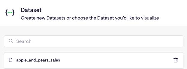 Select your new dataset widget