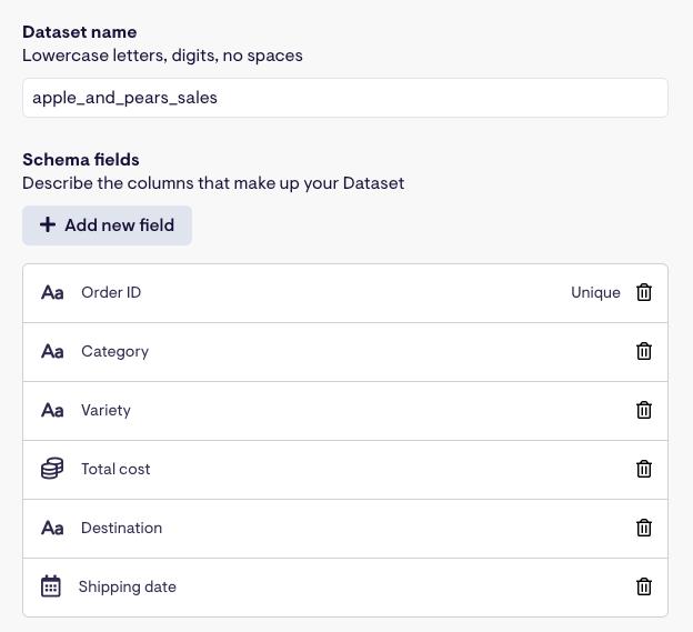 Adding the dataset schema fields in Geckoboard