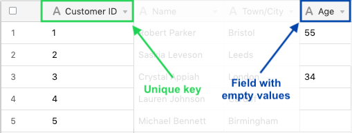 Airtable spreadsheet annotated with the unique order id and empty columns