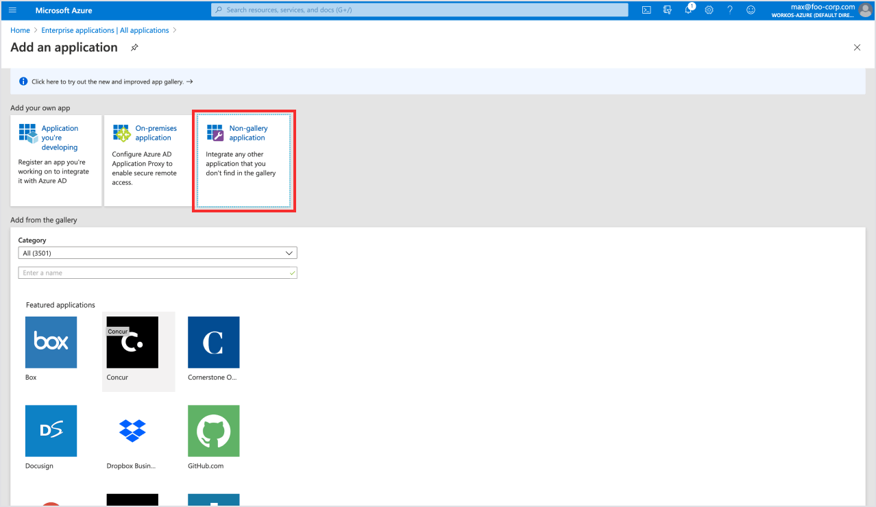 Select non-gallery application in Azure