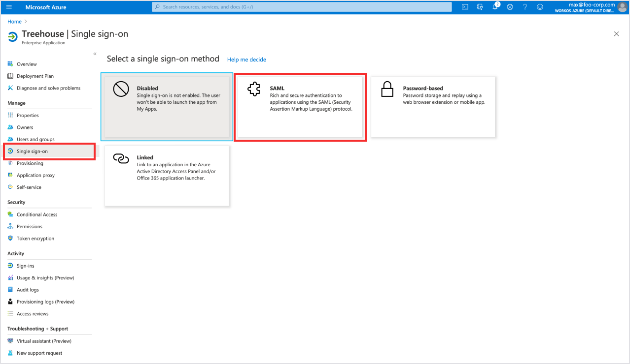 Select SAML from sign-on methods in Azure