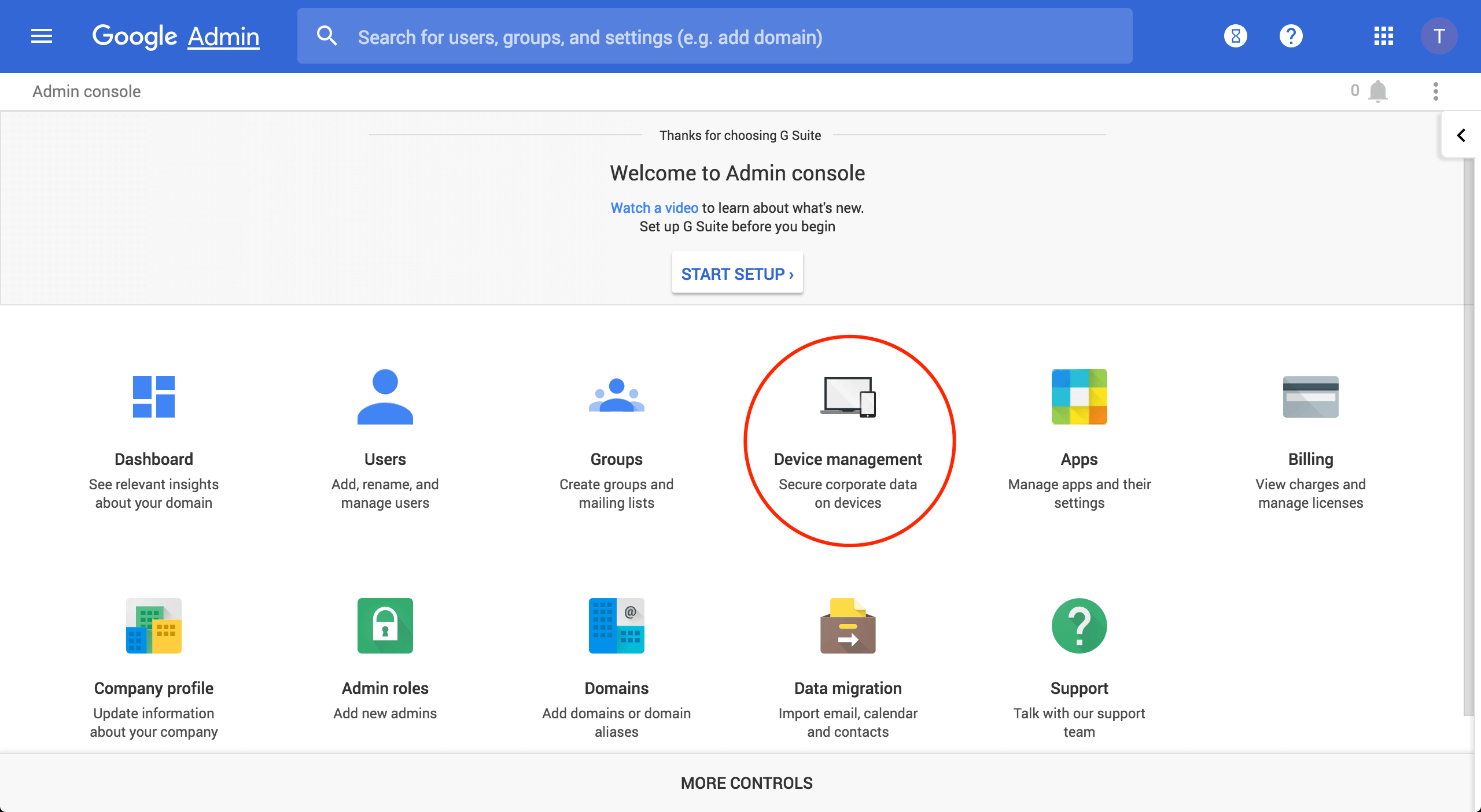 Chrome device management screen