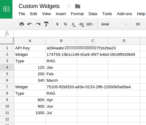 Setting up the Custom Widgets spreadsheet
