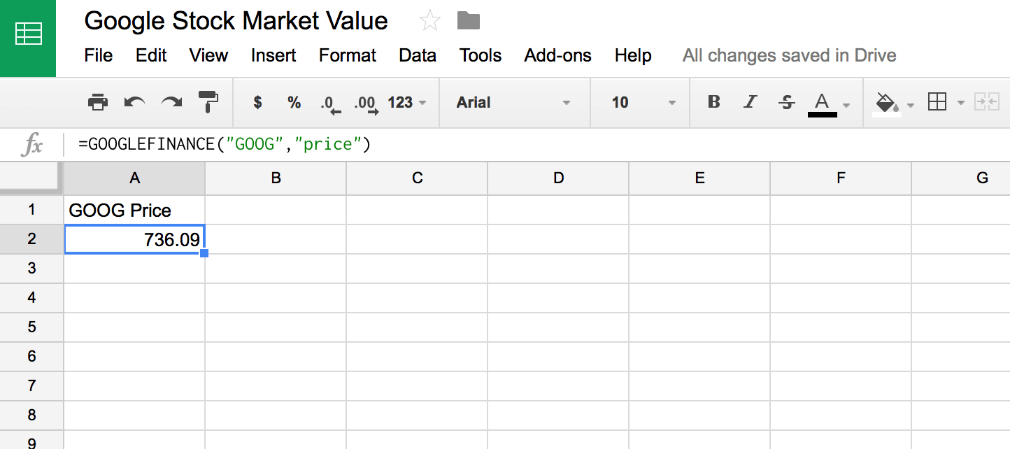 Use Google Sheets' GoogleFinance function to display data in