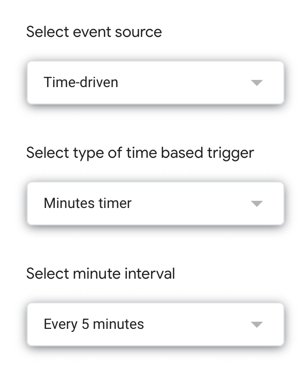 trigger settings in Google Sheets