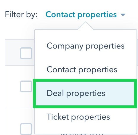 Switch the property filter to deal