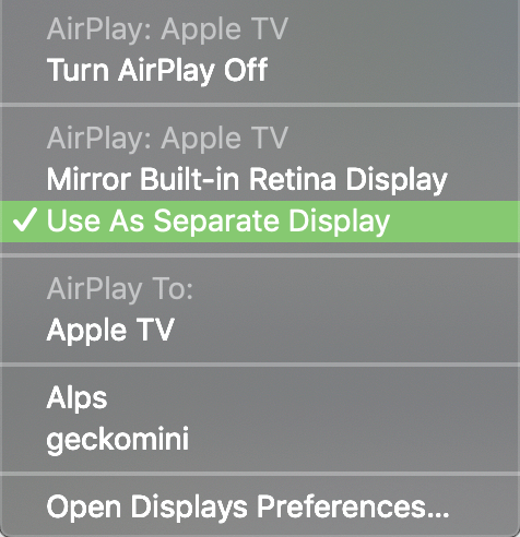 Use a Separate display