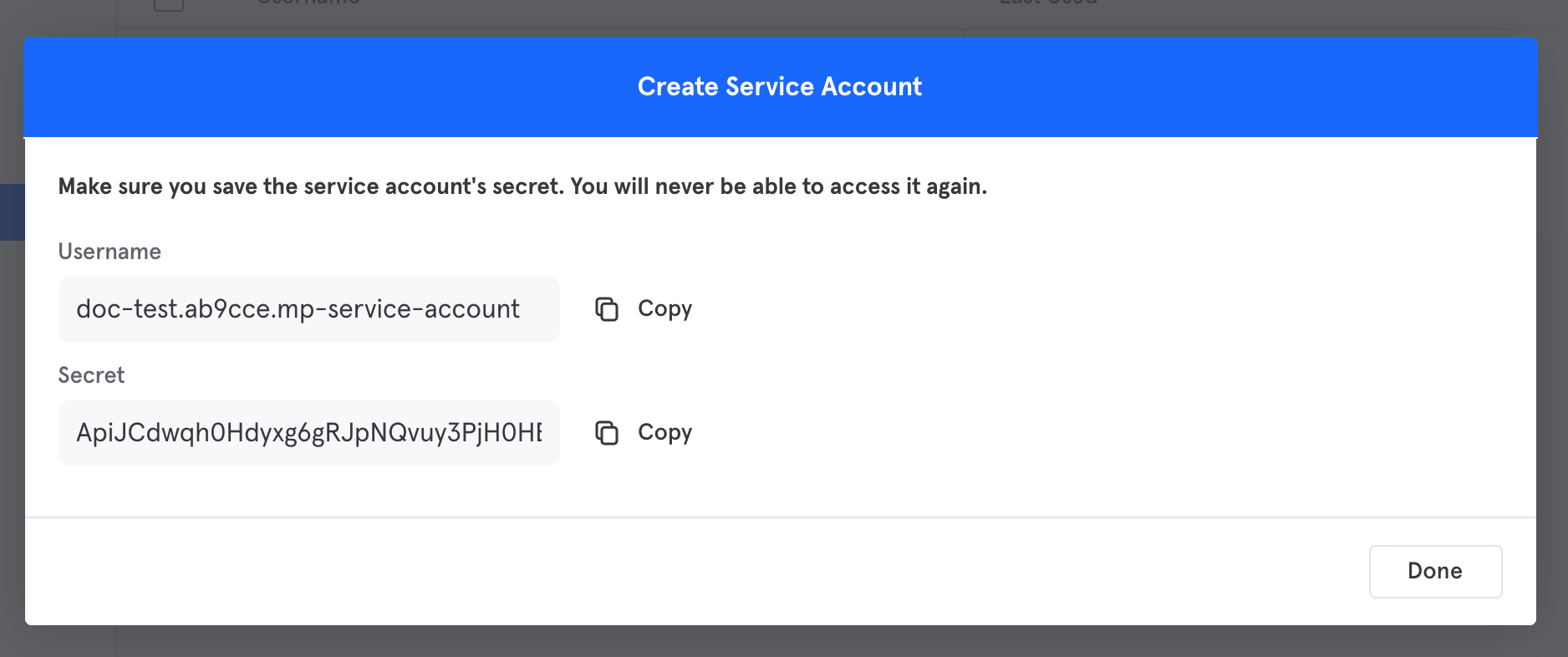 copy and paste your new service account username and secret into Geckoboard