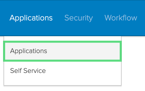 Select Applications from Okta's settings screen