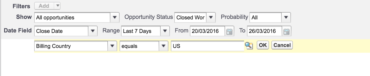 Adding filters in salesforce
