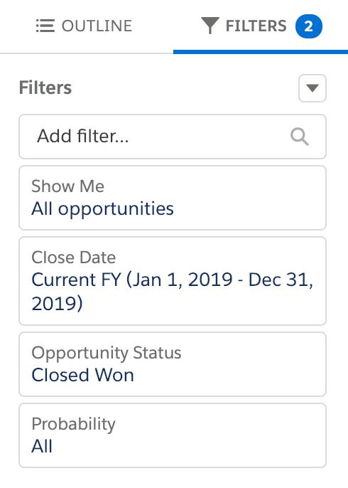 Salesforce Lightning filters pane