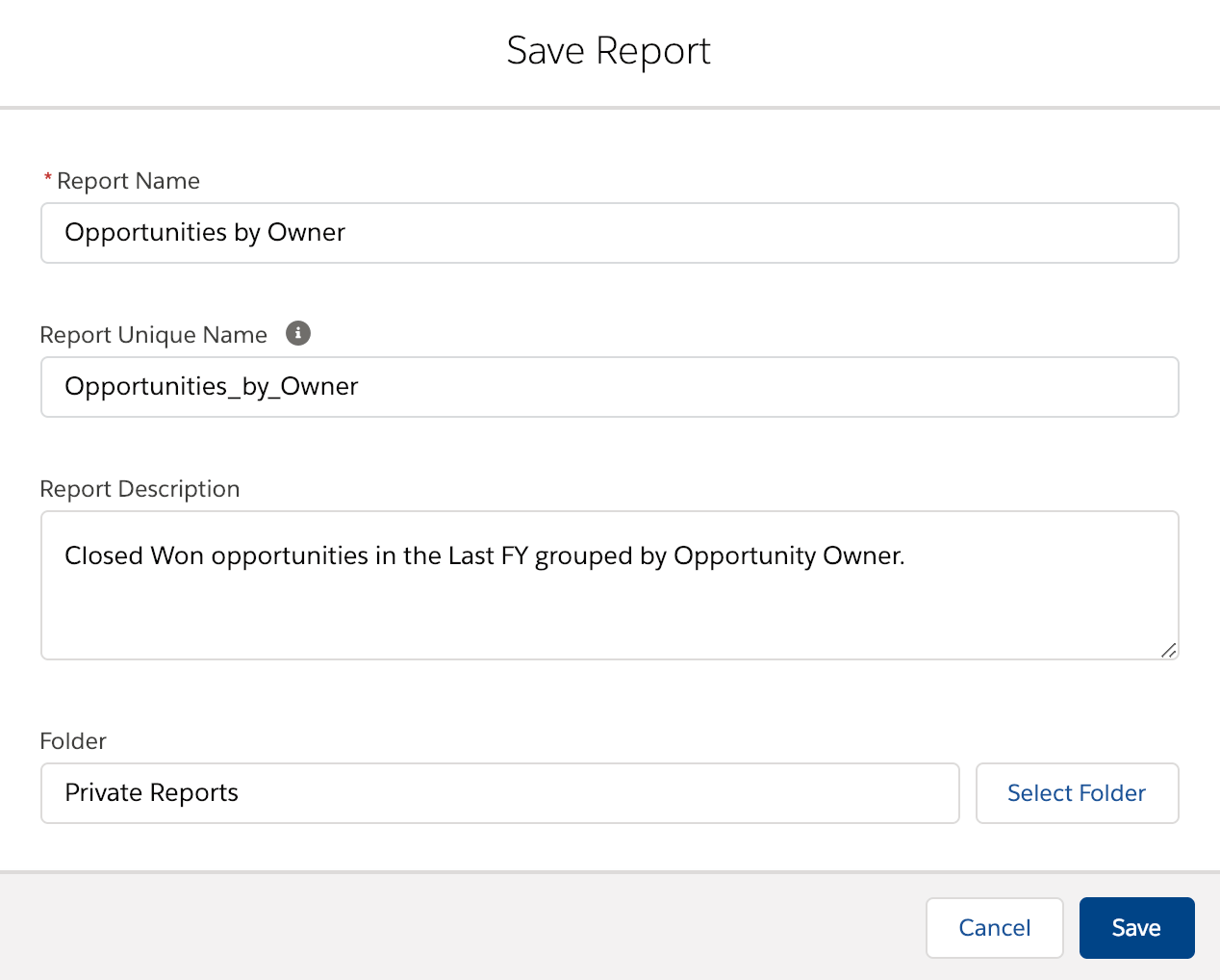 Salesforce Lightning save report