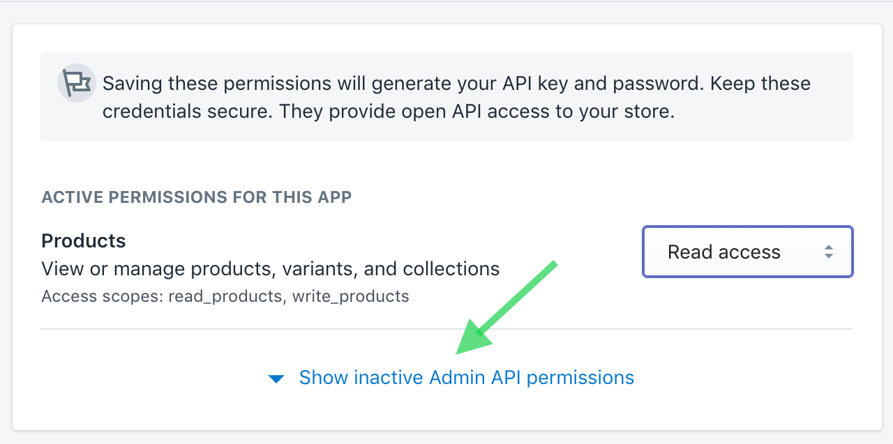 Show inactive Admin API permissions in Shopify