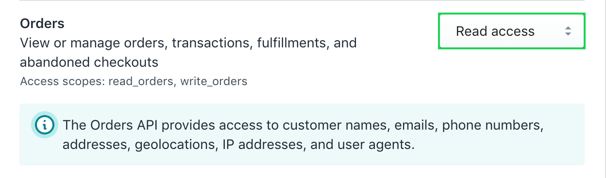 Switch orders to read access