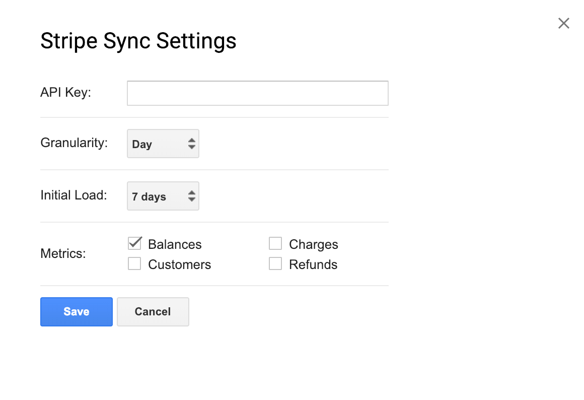 Stripe sync settings