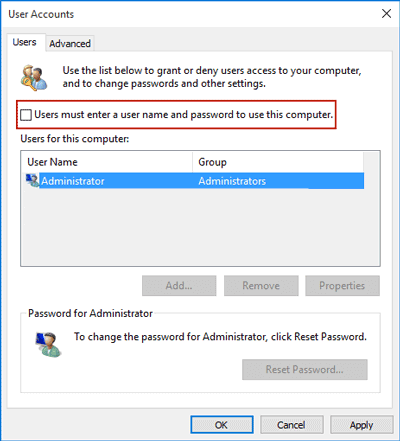 disable the need for a user and password to boot Windows 10