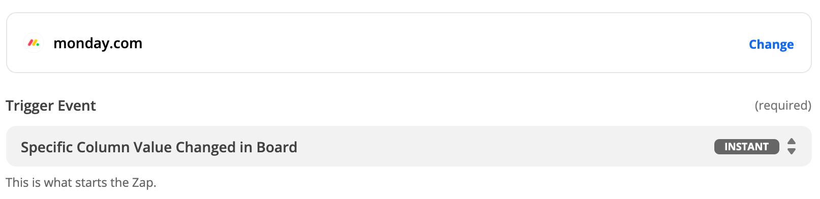 Adding a new entry monday.com trigger in Zapier