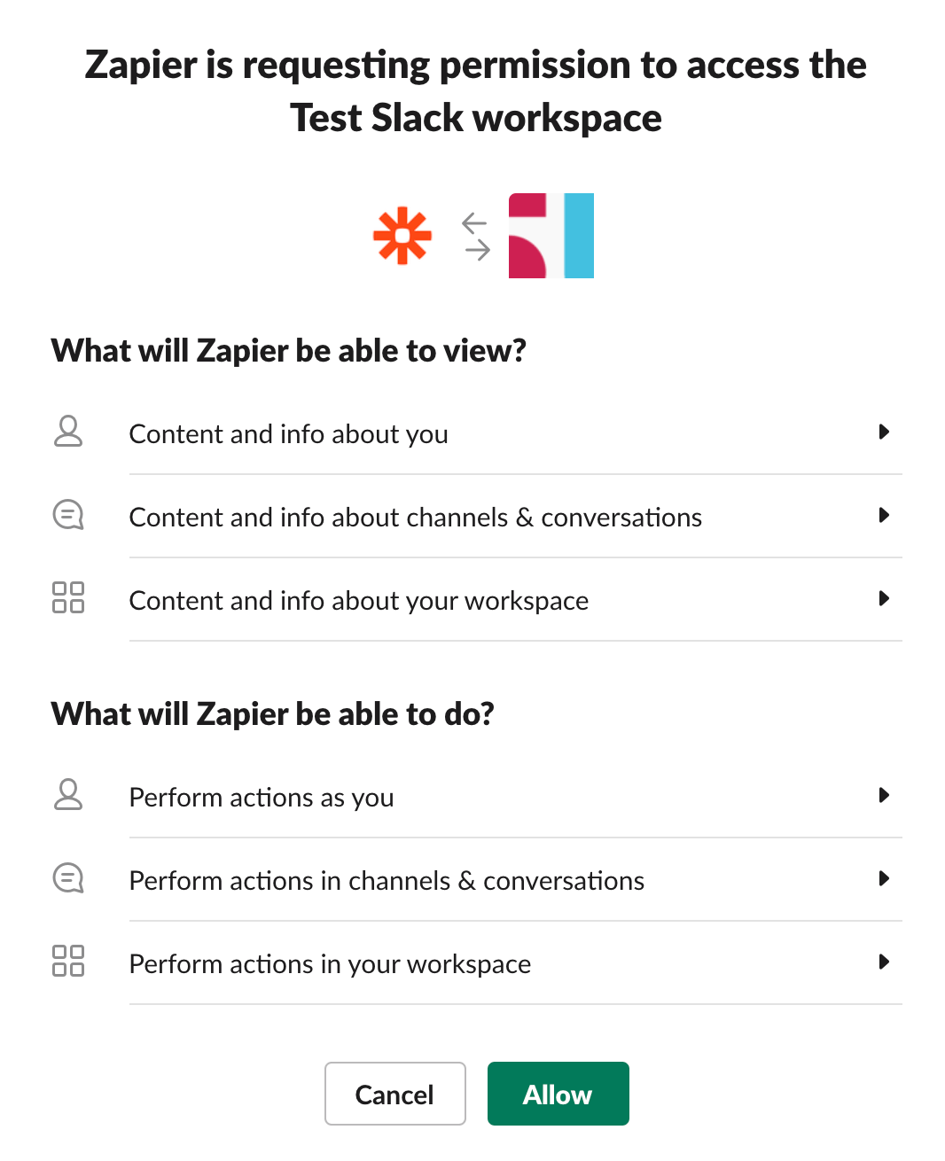Connect your Slack account to Zapier