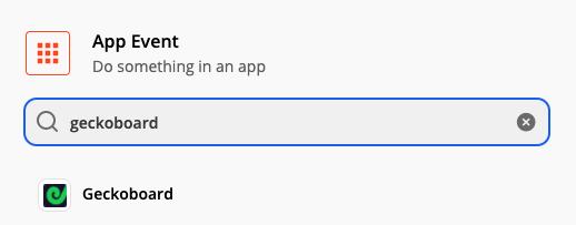 Adding a new Geckoboard app event in Zapier