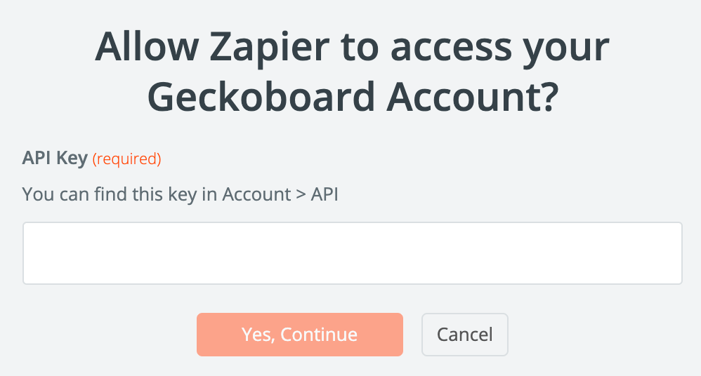 Enter your Geckoboard API key