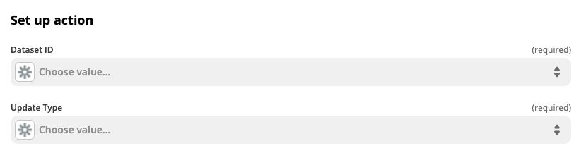Selecting dataset in Zapier