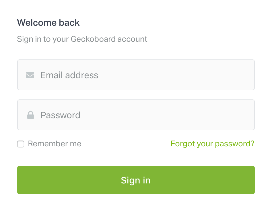 login to your geckoboard account