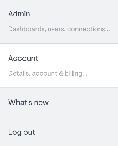 options from the account menu