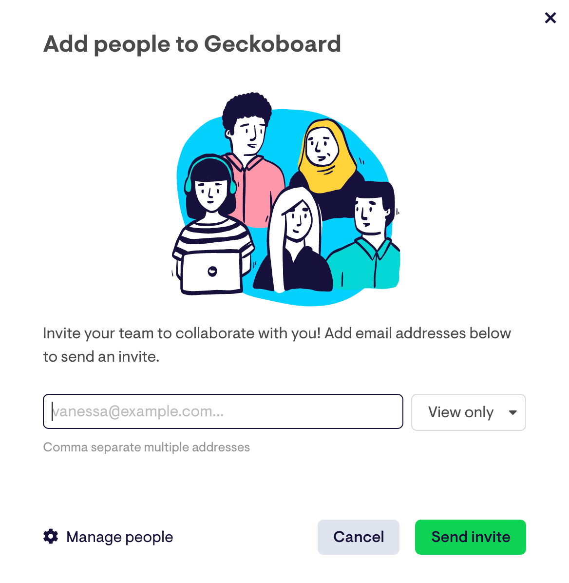 invite people to use geckoboard