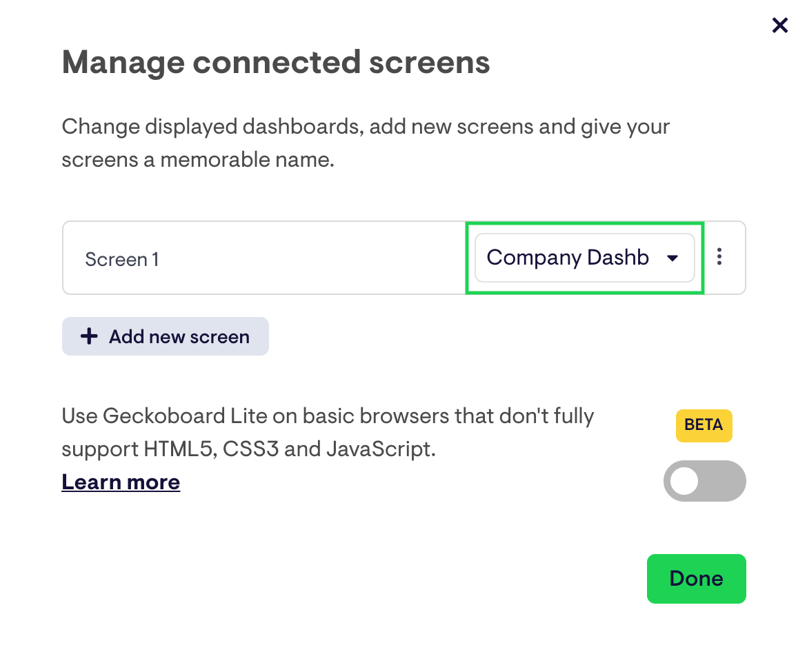 Manage Connected Screens