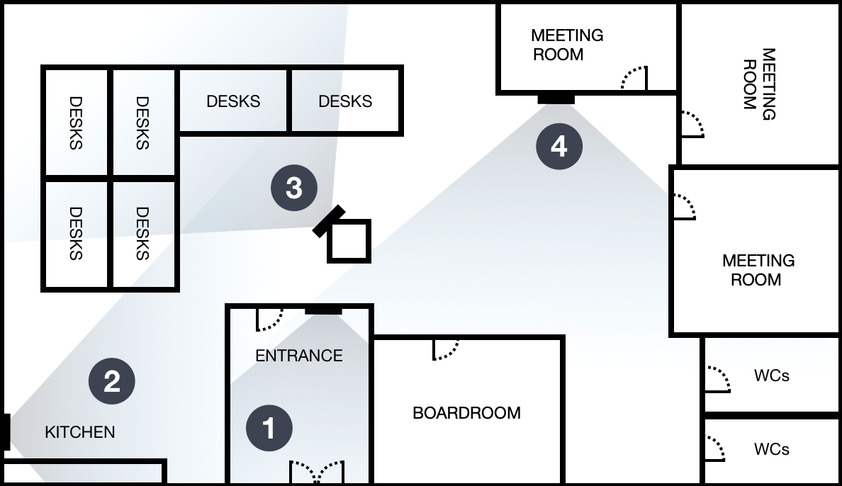 Example office floorplan with four dashboards in key locations