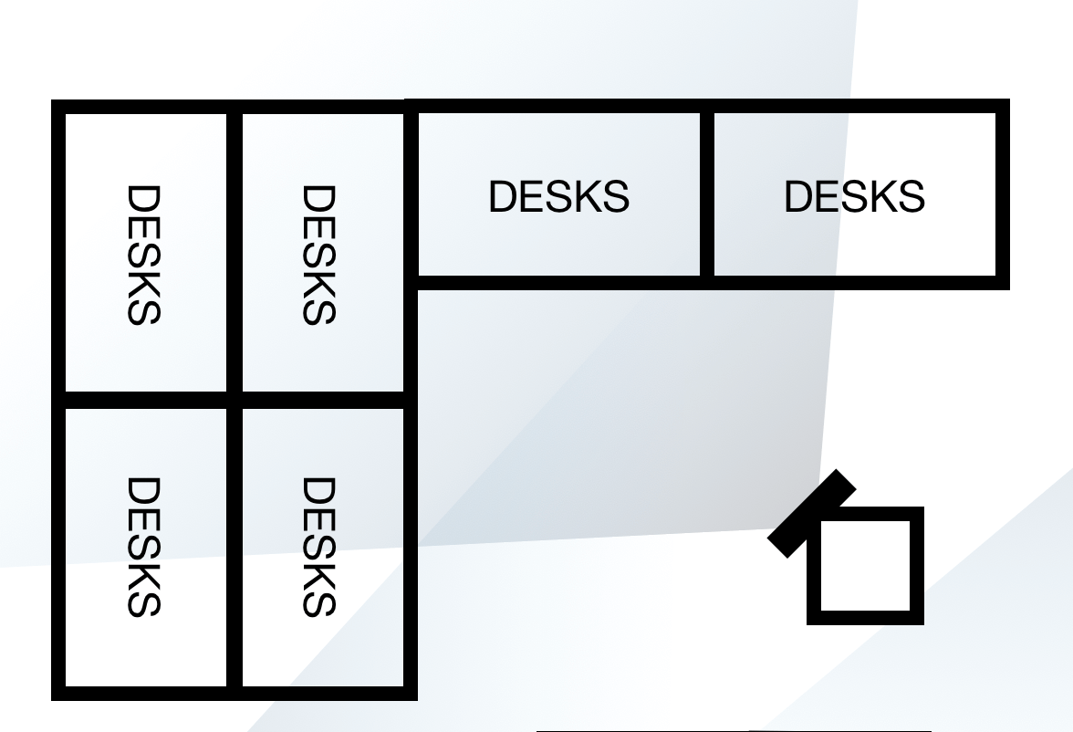 Example office floorplan with showing dashboard located near cluste of desks