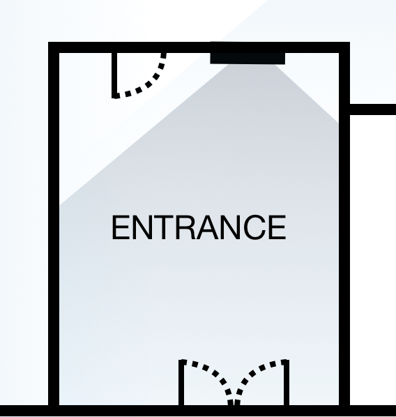 Example office floorplan with showing dashboard at entrance lobby
