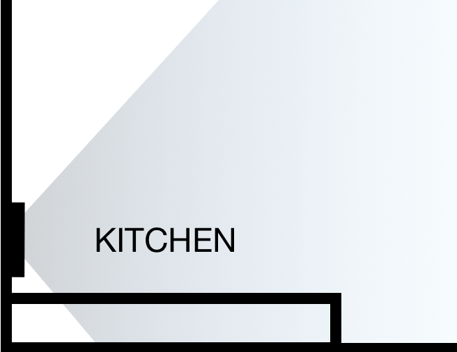 Example office floorplan with showing dashboard at kitchen area
