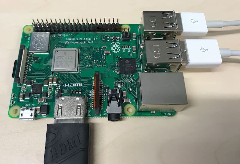 Raspberry Pi 3+ with HDMI cable attached