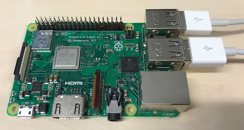 Raspberry Pi 3+ with usb keyboard and mouse attachment