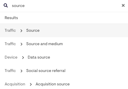 searching for sources in the labels tree menu