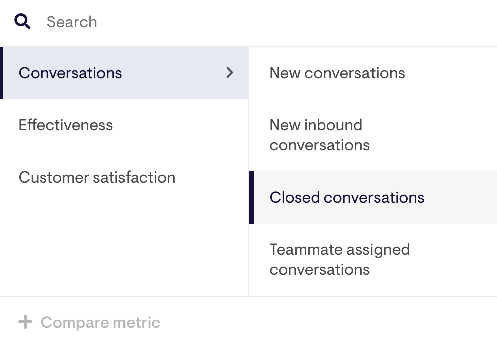 searching for conversations in the labels tree menu