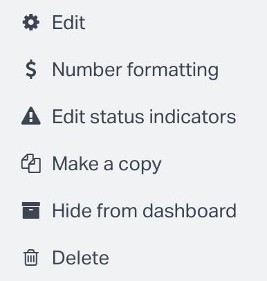 Edit widget menu