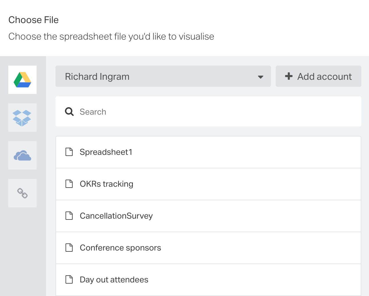 connect your chosen cloud-based service directly from the Spreadsheets panel