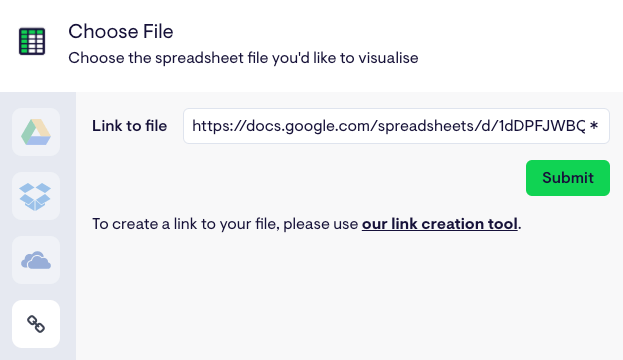 Choose your Excel file from the direct link field