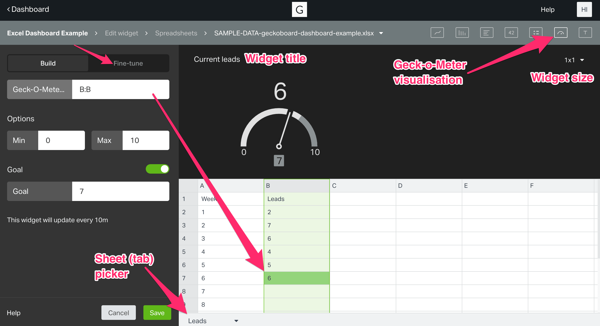 Steps to build the Live Excel (or Google Sheets) Dashboard