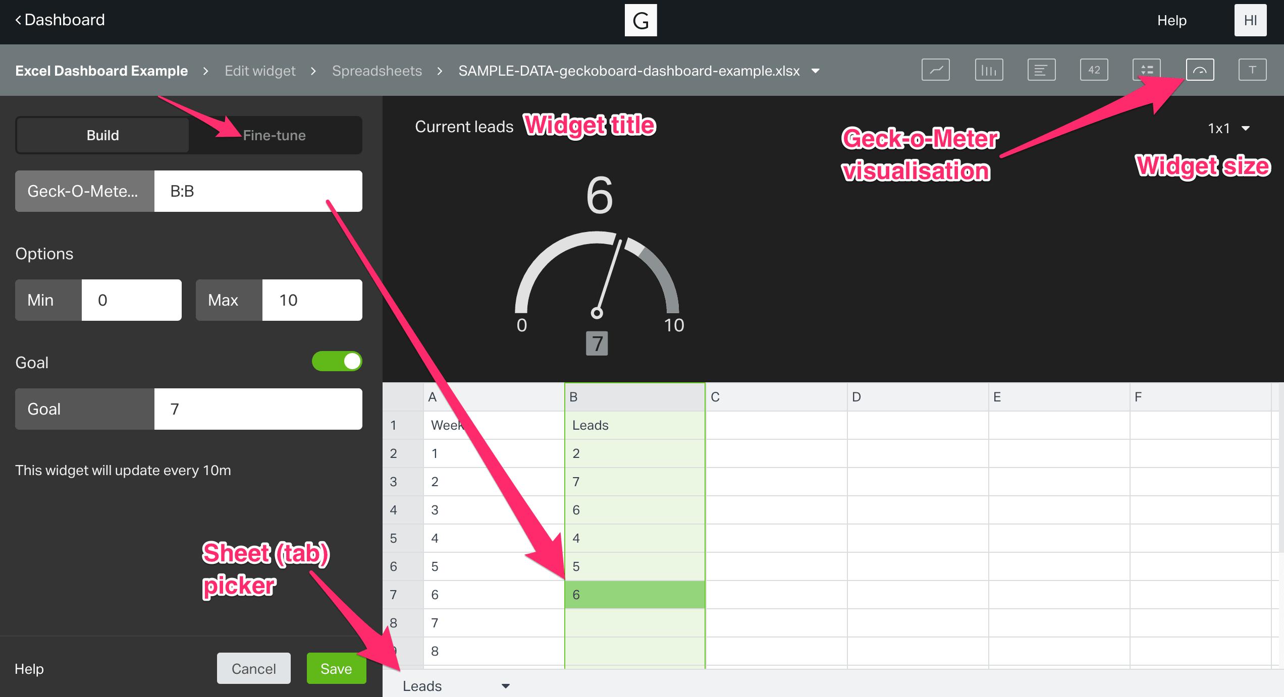 widget set up for Geckoboard Geck-o-Meter widget using Excel spreadsheets