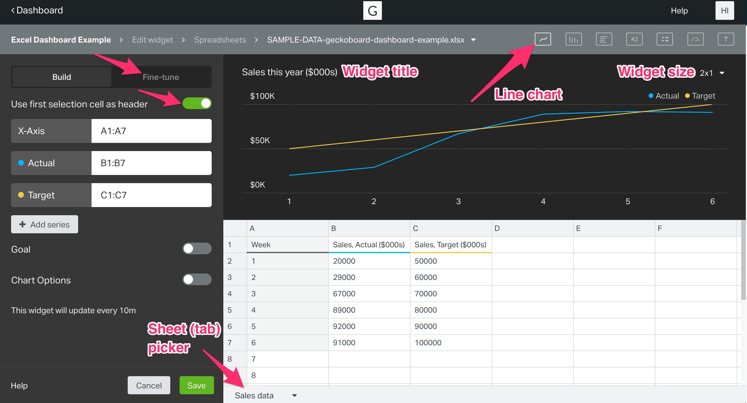 widget set up for Geckoboard line chart widget using Excel spreadsheets