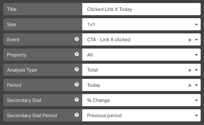 tracking clicks to a particular CTA link on your dashboard