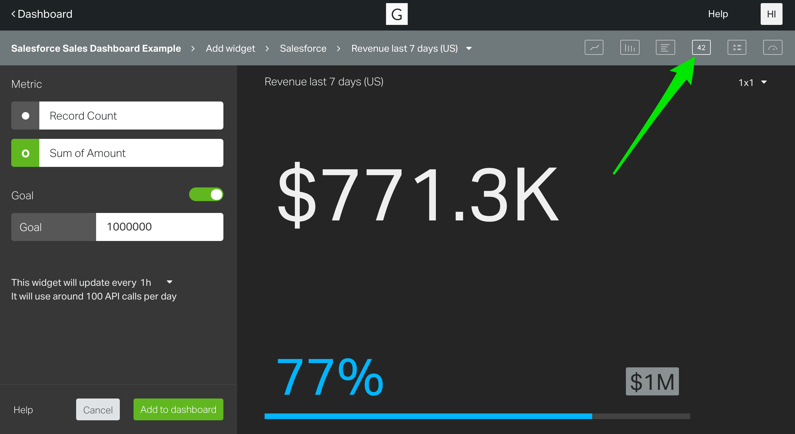 configure your Revenue last 7 days (US) widget