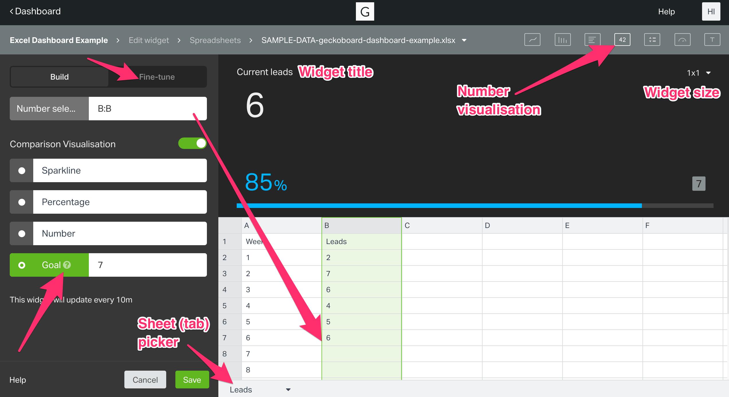 widget set up for Geckoboard Number widget using Excel spreadsheets
