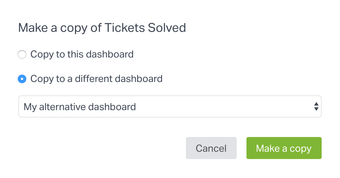 choose another dashboard to copy widget