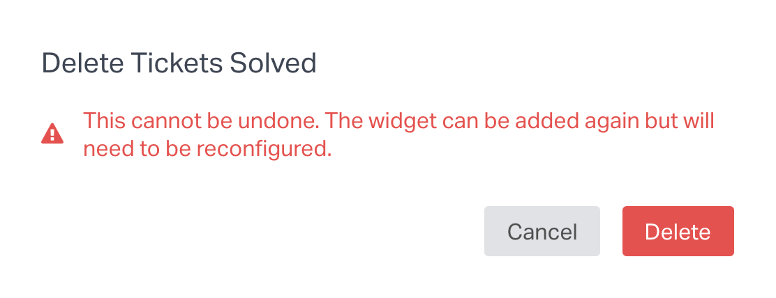 confirm deletion of widget