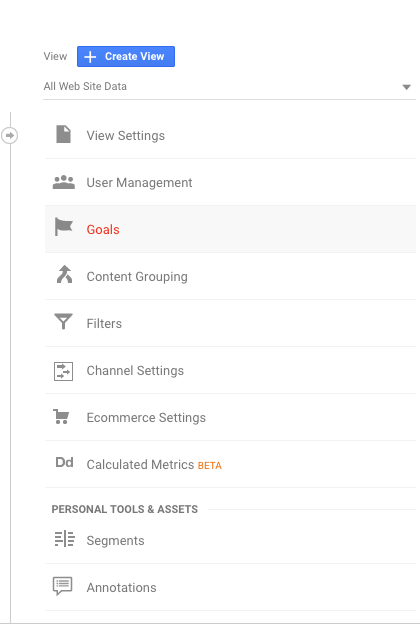 Setting up google analytics with goals